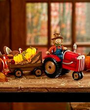 Scarecrow on Tractor Figurine Lighted Pumpkins Fall Harvest Thanksgiving Decor