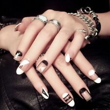 24Pcs Acrylic Designer Fake Fingernail Nail Tips DIY French Full False Nails Art
