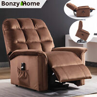 Power Lift Recliner Chair Soft Suede Fabric Padded Cushion With RC for Elderly