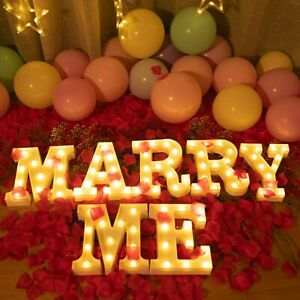 MARRY ME-Brightown Decorative Plastic LED Marquee Letter Light Up Letters Sig...