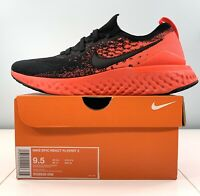 Nike Epic React Flyknit 2 Running Shoes Black Crimson BQ8928 008 Men Size 9.5