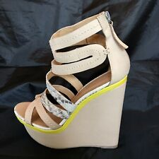 L.A.M.B. Jenelle Python Wedges Natural Snake Yellow Size 9 with box Sandals