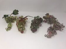 Beautiful Green Orange Purple Hard Plastic Carved Grape Clusters Branches