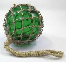 "8"" Green Glass Fishing Float ~ Fish Net Buoy ~ Nautical Maritime Decor"