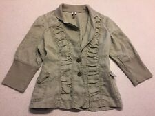 XCVI Blazer Green Large Women's 3/4 Sleeve Two-Button Stretch Jacket Linen E29