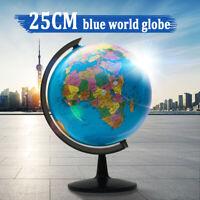 Blue Rotating World Map Ocean Geographical Earth Desktop Decor Kid Education