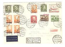 Polen Briefmarken Brief von 1951 Groszy Aufdruck T.12 T.19 Posen geprüft