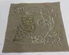 Atira Designs  Fall Embroidered Beaded Gilded Owl Pillow/ NWT/Made in India