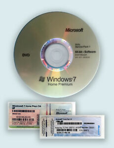 1 STICKER - CLE DE LICENCE WINDOWS 7 HOME PREMIUM 64 BIT + DVD INSTALL SP1 FR