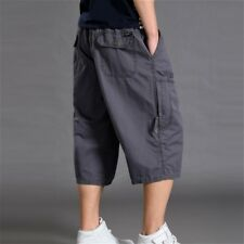 Mens 3/4 Length Cargo Pants Shorts Loose Casual Cotton Trousers Plus Size Pants