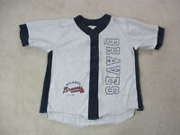 VINTAGE Atlanta Braves Baseball Jersey Adult Extra Large Gray Blue MLB Mens 90s