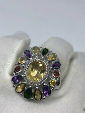 Real 925 Sterling Silver Multi Color & Shape Gemstone Women Ring 14CT Gemstones