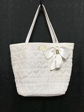 Betsey Johnson Quilted Heart Purse Large Magnetic Snap W/Gold Hardware Tote
