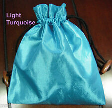 Light Turquoise Silk Drawstring Tarot Bag Lined 6.5x7 Cards Runes Crystals Dice