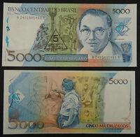 BRAZIL BRASIL Paper Money 5 on 5000 Cruzeiros UNC