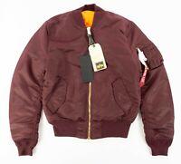 NWT Men's Alpha Industries MA-1 Slim Fit European Fit Jacket Maroon Sz S-L $150