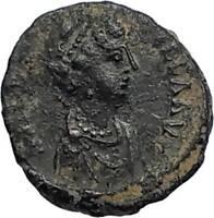AELIA FLACILLA Theodosius I Wife 383AD Ancient Roman Coin VICTORY CHI-RHO i67500