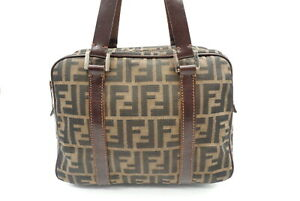 FENDI Zucca pattern Handbag mini Boston Tote FF logo Nylon Canvas Brown 4242h