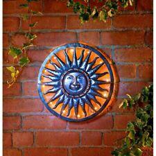40cm Solar Bright LED Light Metal Sun Garden Ornaments Decoration Wall Art