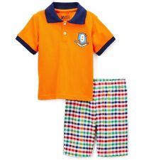 Boys BOYZ WEAR outfit 18M 12-18 NWT orange polo shirt rainbow plaid shorts navy