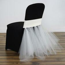 1 Ivory TULLE TUTU with SPANDEX CHAIR SASH Sample Wedding Discounted Supplies