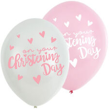 12 X ON YOUR CHRISTENING PARTY GIRLS PINK WHITE HELIUM LATEX BALLOONS DECORATION