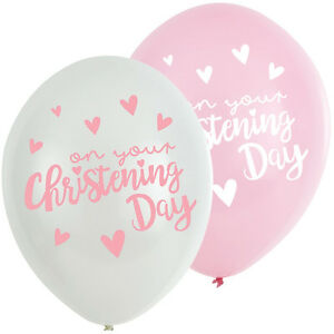 6 X ON YOUR CHRISTENING PARTY GIRLS PINK WHITE HELIUM LATEX BALLOONS DECORATION