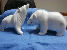 Pair of Carved Stone Agate Bear Figurines