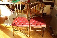 Paire chaise dorées fauteuil Epoque Napoleon III Louis XVI soie rouge XIX°
