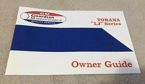 Holden LJ Torana Maintenaince Owners Guide Manual Dated 5/72