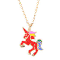 Charm Girls Glaze The Sparkled Unicorn Rainbow Horse Pendants Necklaces Gift