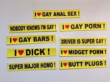 Sale! 9 Piece SAMPLER GAY PRANK Mini BUMPER STICKERS 3/4x4 1/2 Inches