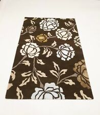INDIAN HAND TUFTED, FLORAL,157 x 246 KHAKI GREEN, YELLOW,BEIGE,GREY,BLUE, CREAM