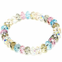 New Ladies Crystal Faceted Loose beads Bracelet Stretch Jewelry Bangle O4E0