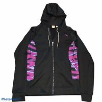 Puma Sport Zip Up Athletic Workout Jacket Size Small Black