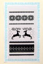 "Clear Stamps Lot (4""x7"") Christmas Scandinavian Deers FLONZ  Rubber Acrylic"