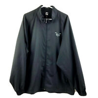 Footjoy Golf Windbreaker Jacket Mens XL Black Full Zip Lightweight Polyester Euc