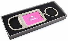 Gorgeous Hot Pink 'Babe' Chrome Metal Bottle Opener Keyring in Box Gi, BABE-1MBO