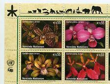 UN Vienna 2005 Endangered species flowers block of 4 mint