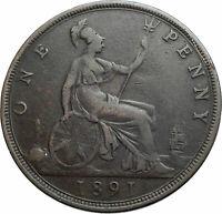 1891 UK Great Britain United Kingdom QUEEN VICTORIA Genuine Penny Coin i79506