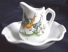 Ensemble de toilette p vasque + broc FAIENCE de MOUSTIERS miniature peint main