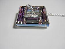 "Swarovski® 20mm Vitrail light crystal Square purple, 925 Silver Necklace 18"""