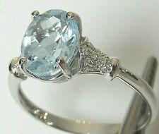 HUGE BLUE TOPAZ & DIAMOND 14K WG RING!