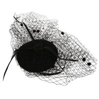 Ladies Hairspray Decoration Net Yarn Punk Burlesque Mini Hat Black R9P7