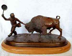 """Harland Young Bronze """"Cooks Coming Home w Buffalo Steaks"""" 17/50 Western Bison"""