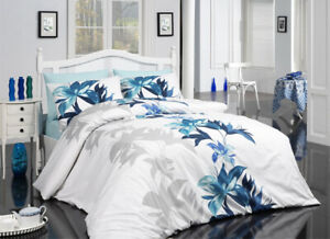 Magnolia Queen Quilt Cover Set includes Fitted Sheet- 100% Luxury Turkish Cotton