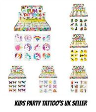 KIDS TEMPORARY TATTOOS Assorted Designs Party Bag Filler Loot Girls and Boys UK