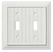 Double Toggle Switch Wall Plate White Wood Beadboard Brainerd 126359