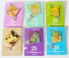 Japan Tokyo Disney Resort 25th Anniv. Character Sketch Series Pins Lot of 6