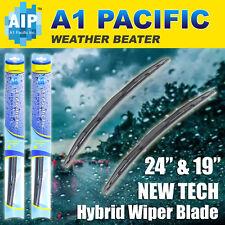 "Hybrid Windshield Wiper Blades Bracketless J-HOOK OEM QUALITY 24"" &19"""